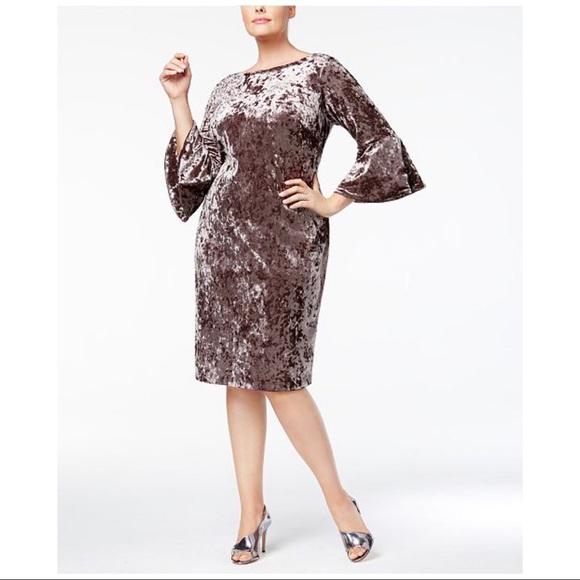eea2c4b6826 Calvin Klein Taupe Bell-Sleeve Velvet Sheath Dress